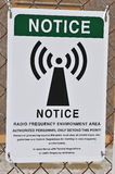Radio frequency warning sign Royalty Free Stock Photo