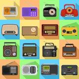 Radio geplaatste pictogrammen, vlakke stijl royalty-vrije illustratie