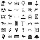 Radio geplaatste taxipictogrammen, eenvoudige stijl Royalty-vrije Stock Foto's