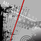 Radio Grunge AM FM Retro. Radio Grunge Retrospective: AM FM Radio Tuner with red station indicator Royalty Free Stock Image