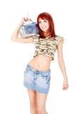 Radio on her shoulder Stock Photos