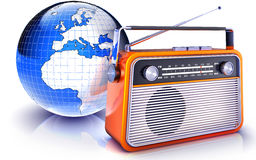 Radio. High resolution rendering of an radio in front of an globe Stock Photo