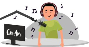Radio host behind a desk speaks into the microphone on the air stock illustration