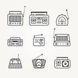 Radio icon set Stock Photos