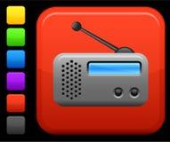 Radio icon on square internet button Stock Photography
