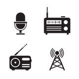 Radio icons. Set. Black on a white background Stock Image