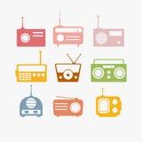 Radio isolated objects set Royalty Free Stock Photos