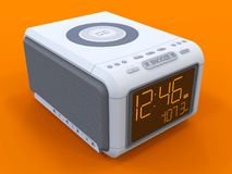 Radio klok-alarm klok op een oranje achtergrond het 3d teruggeven Stock Foto's