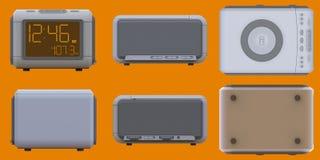 Radio klok-alarm klok op een oranje achtergrond het 3d teruggeven Stock Afbeeldingen