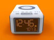 Radio klok-alarm klok op een oranje achtergrond het 3d teruggeven Royalty-vrije Stock Foto