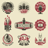 Radio labels. Retro radio, record studio, rock and roll radio  Royalty Free Stock Photography