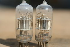Radio lamp amplifier. Electronic vacuum tube. Stock Photo