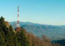 Radio mast with mountain view Royalty Free Stock Photography