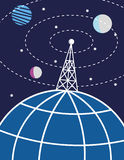 Radio Mast and Planet Earth. Transmission tower or radio mast on a stylized globe of the Earth sends signals out to the world and the planets and stars in space Stock Photography