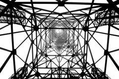 Radio mast pylon. Gepmetric black and white photo of a radio tower Stock Photo