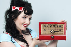Radio Meisje Pinup Stock Foto's