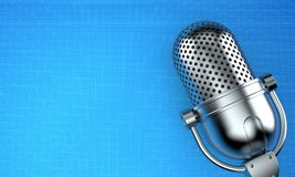 Radio microphone. On blueprint background. 3d illustration vector illustration