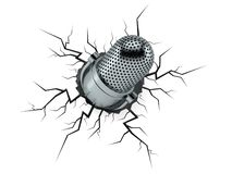 Radio microphone inside cracked hole vector illustration
