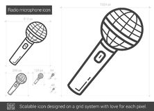 Radio microphone line icon. Stock Photos