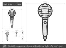 Radio microphone line icon. Stock Image