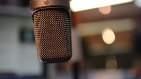 Radio microphone. In studio with selected focus stock footage