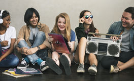 Radio Music Friends Unity Style Teens Casual Concept. Radio Music Friends Unity Style Teens Casual Stock Images
