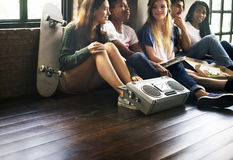 Radio Music Friends Unity Style Teens Casual Concept.  Stock Photography