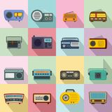 Radio music old device icons set, flat style. Radio music old device icons set. Flat illustration of 16 radio music old device vector icons for web Stock Image