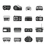 Radio music old device icons set, simple style. Radio music old device icons set. Simple illustration of 16 radio music old device vector icons for web Royalty Free Stock Images