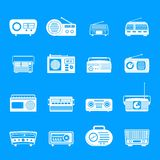 Radio music old device icons set, simple style. Radio music old device icons set. Simple illustration of 16 radio music old device vector icons for web stock illustration