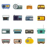 Radio music old device icons set vector isolated. Radio music old device icons set. Flat illustration of 16 radio music old device vector icons isolated on white Royalty Free Stock Images