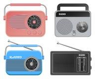 Radio music old device mockup set, realistic style Stock Image