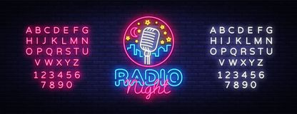 Radio Night Neon Logo Vector. Radio Night neon sign, design template, modern trend design, Radio neon signboard, night vector illustration