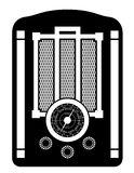 Radio old retro vintage icon stock vector illustration black out Royalty Free Stock Photography