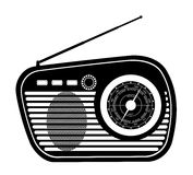Radio old retro vintage icon stock vector illustration black out Royalty Free Stock Images