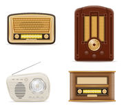 Radio old retro vintage set icons stock vector illustration Royalty Free Stock Photography