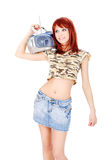 Radio op haar schouder Stock Foto's