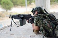Radio operator gunner M249  light machine gun Stock Images