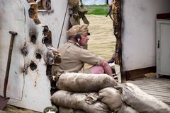 Radio operator, at the M5 Living History show. royalty free stock images