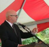Radio personality Chris Baker speaks at rally Stock Photo