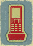 Radio phone.Grunge symbol on old paper Stock Photography