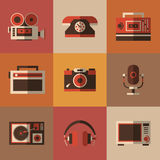 Radio, photo, phone, microphone in one picture Royalty Free Stock Images