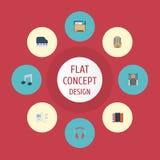 Radio plate d'icônes, lecteur mp3, mouvement de rythme et d'autres éléments de vecteur L'ensemble de Melody Flat Icons Symbols Al Photo libre de droits