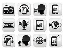 Radio, podcast app on smartphone and tablet buttons set Stock Photos