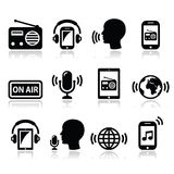 Radio, podcast app on smartphone and tablet icons set. Vector icons set - radio app isolated on white royalty free illustration
