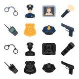 Radio, police officer badge, uniform cap, pistol.Police set collection icons in black,cartoon style vector symbol stock. Illustration Stock Photo