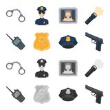 Radio, police officer badge, uniform cap, pistol.Police set collection icons in cartoon,monochrome style vector symbol. Stock illustration Royalty Free Stock Image
