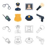 Radio, police officer badge, uniform cap, pistol.Police set collection icons in cartoon,outline style vector symbol. Stock illustration Stock Photo