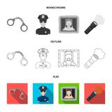 Radio, police officer badge, uniform cap, pistol.Police set collection icons in flat,outline,monochrome style vector. Symbol stock illustration Royalty Free Stock Photos