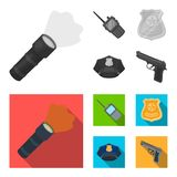 Radio, police officer badge, uniform cap, pistol.Police set collection icons in monochrome,flat style vector symbol. Stock illustration Stock Photos